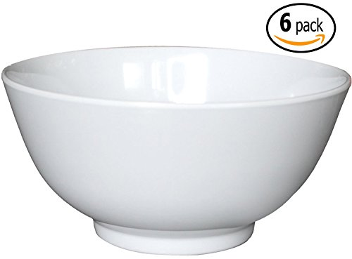Melamine Soup / Rice Bowls with Pan Scraper, 39 Ounce, 7 Inch, Set of 4, White