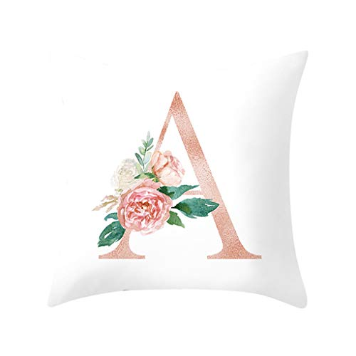 Feitengtd Letter Pillow Alphabet Cushion Cover for Sofa Home Decoration Flower Pillowcase