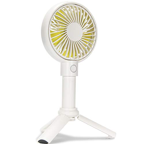 Mini Handheld Fan, Adjustable 3 Speeds Mini Fan, Portable Outdoor Electric Fan, USB Rechargeable Suitable for Home, Office and Travel (White)