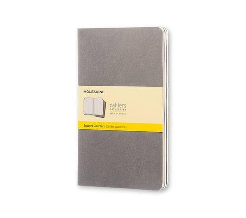 - Moleskine Cahier Journal (Set of 3), Large, Squared, Pebble Grey, Soft Cover (5 x 8.25)