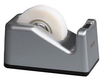 Scotch C28 - Rollo de cinta adhesiva con dispensador (19 mm x 10 m), color plateado: Amazon.es: Oficina y papelería