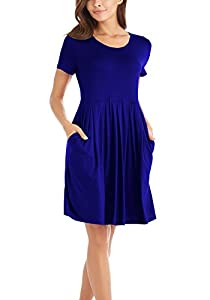 I2CRAZY Women's Casual Pleated Swing Dresses with Pockets Knee Length(Short Sleeve-Royal Blue,S)