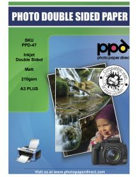 PPD A3 Plus (329 mm X 483 mm) Carta Fotografica su entrambi i lati opaco 210G - 100 fogli Photo Paper Direct