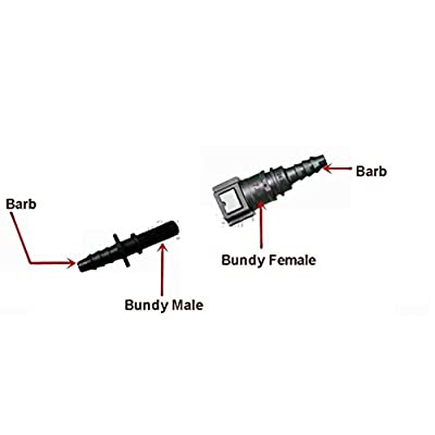 """Fitting Fuel Line Quick Connector 3/8"""" Barb to 5/16"""" Bundy Male Tube (2 Units): Automotive"""