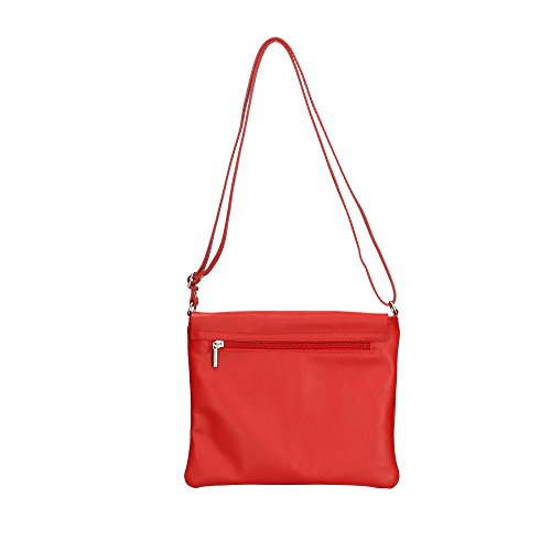 Leather Italy Crossbody 24x21x2 Woman's Red Made Bag in Aren Cm in Genuine FX8Wgx