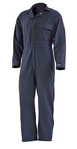 - DRIFIRE 4.4 Flame Resistant Dual Hazard CAT2 Lightweight Coveralls, Size: LG Navy Blue