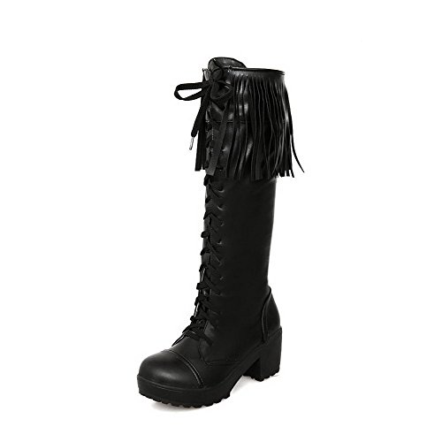 Kitten 7 AmoonyFashion Solid B M Round US PU and Heels with Tassels Boots Platform Closed Toe Black Womens 5 IwqCF