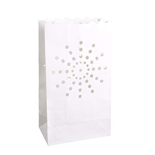 - SUPVOX White Luminary Bags - 20 Count - Sunburst Design - Wedding, Reception, Party and Event Decor - Flame Resistant Paper