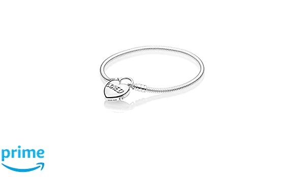 d463cd67e PANDORA Moments Smooth Silver Padlock Bracelet, You Are Loved Heart 925  Sterling Silver - 597806: Amazon.ca: Jewelry