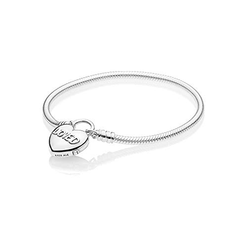 [판도라] PANDORA Moment Smooth Silver Padlock Bracelet, You Are Loved Heart 팔찌 19 cm (스털링 실버) 정식 수입품