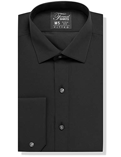 Luxe Microfiber Men's Fitted Spread Collar Dress Shirt - Style Jesse Black