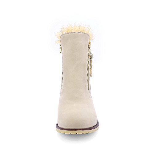 1TO9 Ladies Chunky Heels Zipper Round Toe Frosted Boots Beige 2uLte6pH