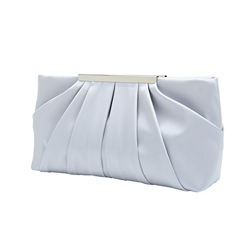 Charming Tailor Clutch Evening Bag Elegant Pleated Satin Formal Handbag Simple Classy Purse for Women (Silver)