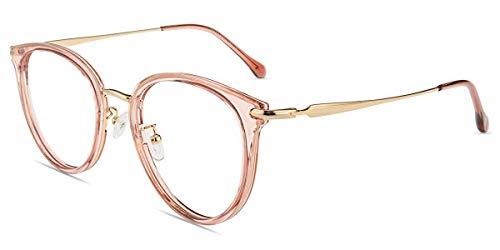 Firmoo Blaulicht Brille Entspiegelt ohne Sehstärke Groß für Damen Herren, Runde Blaulichtfilter Computer Brille gegen Kopfschmerzen Augenschutz UV Schutzbrille