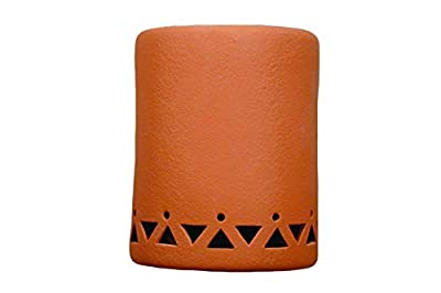 """Indoor Outdoor Decor Hanging Wall Lights with LED Bulbs. - 9"""" Tall Half Round Closed top Wall Sconce w/Tribal Drum Border Design. Terracotta Solid Color Finish"""