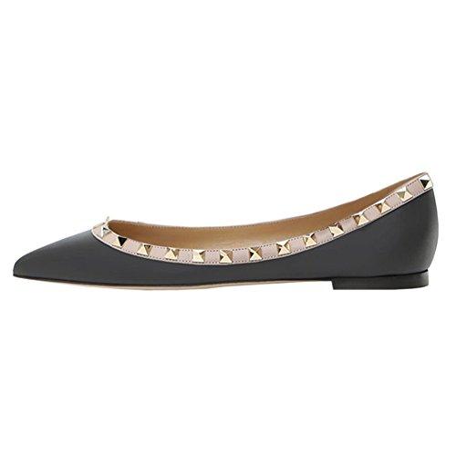 Vocosi Puntige Teen Flats Voor Dames, Mode Studs Studs Comfort Ballet Flats Schoenen Zwart (mat)
