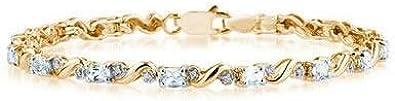 10 K de oro amarillo de diamante y aguamarina pulsera