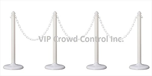 VIP Crowd Control 1842-4-32 14 in. Flat Base Plastic Stanchions - 32 ft. Chain44; White44; 4 Piece