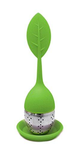 NERTHUS FIH 262 - Filtro de te forma de hoja de Silicona Libre de BPA y Acero Inoxidable, infusiones, colador de te