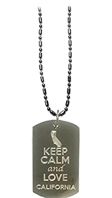 Hat Shark Keep Calm and Love California State Logo - Military Dog Tag, Luggage Tag Metal Chain Necklace