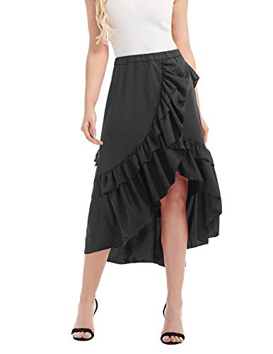 CHICIRIS Women's Vintage High Waisted Ruffle Tiered Plus Size Long Skirt Black S