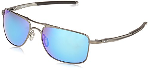 Oakley Men's OO4124 Gauge 8 Rectangular Metal Sunglasses, Matte Gunmetal/Prizm Sapphire Polarized, 62 mm (Oakley Crosshair)
