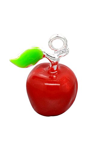 HooAMI 10 Silver Plated Enamel 3D Apple Charm Pendants 19x15mm
