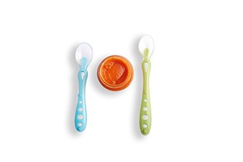 Baby Spoons with Soft-Tip, BPA Free, 4 Pack Safe Feeding Spoons, Gum Friendly Silicone Feeding Utensils for Infants and Toddlers, Self Feeding Set Spoons, Travel Case and Teething Toys Included by Pippety (Image #5)