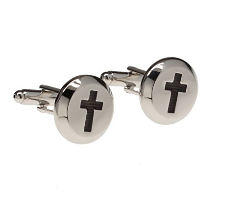 Religious Cross Cufflinks (Silver Round Cufflink with Black Engraved Christian Crucifix Religious)