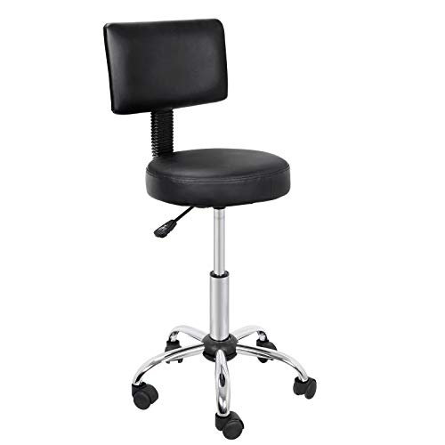 LEMY Rolling Stool Chair with Back Medical Spa Drafting Stool with Back, Black