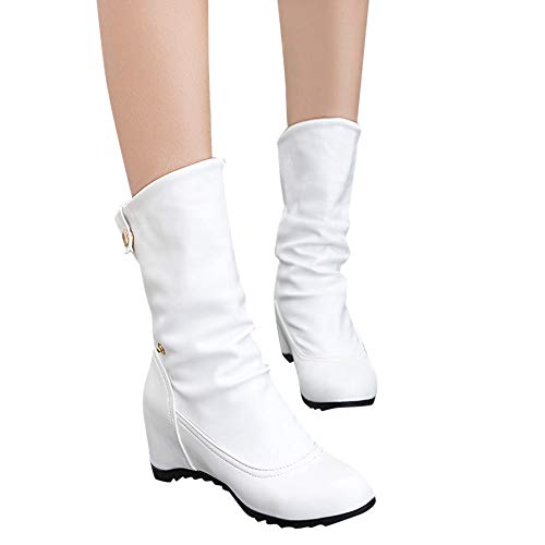 Outtop(TM) Women Increase Within Shoes Lady Casual Button Wedges Round Toe Warm High Heel Boots (US:5.5, White)