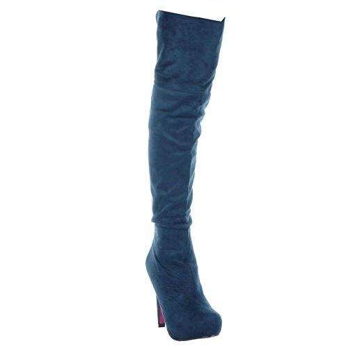 CM sexy Stiletto donna Angkorly Scarpe Alti Tacco Moda Blu stiletto da Stivali 11 zeppe qnn7xZwvXF