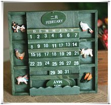 Price comparison product image BUNITA, New Vintage American Country Style Hanging Wall Calendar Wood Home Decor Cute, hanging wall wood