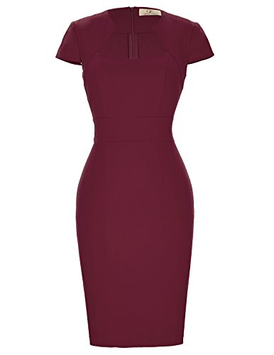 Karin Red Wine - Retro Vintage Cap Sleeve Cotton Midi Wiggle Pencil Dress Size XL Wine Red