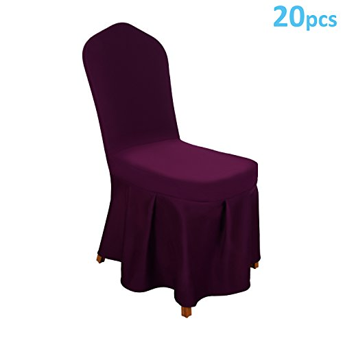 TFJ 20pcs Elastic Polyester Spandex Dining Chair Covers for Hotel, Weddings, Banquets and Parties Purple by TFJ