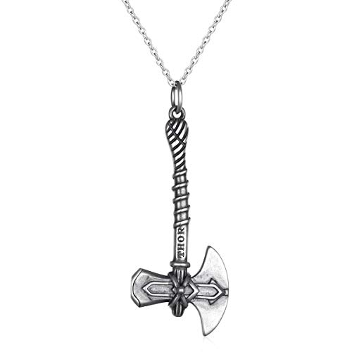 FLYOW Boy's S925 Sterling Silver Thor Axe Pendant Necklace for Men 22