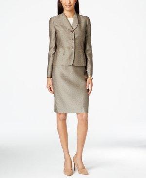Le Suit Womens Petites Monte Carlo Jacquard Metalllic Skirt Suit Taupe 4P