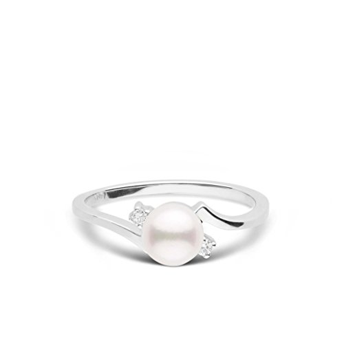 Starlight Collection Akoya Cultured Pearl and Diamond Ring - 14K White Gold - Ring Size 7.5