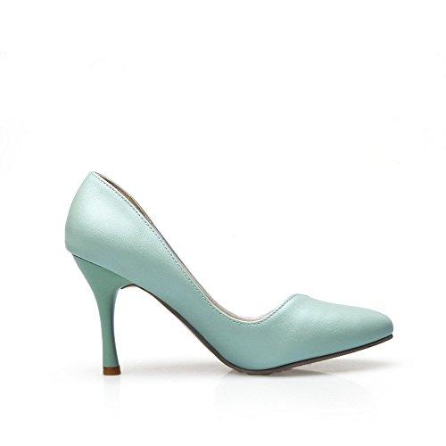 Allhqfashion Dames Spikes Stilettos Solide Trekken Aan Puntige Gesloten Teen Pumps-schoenen Cyaan