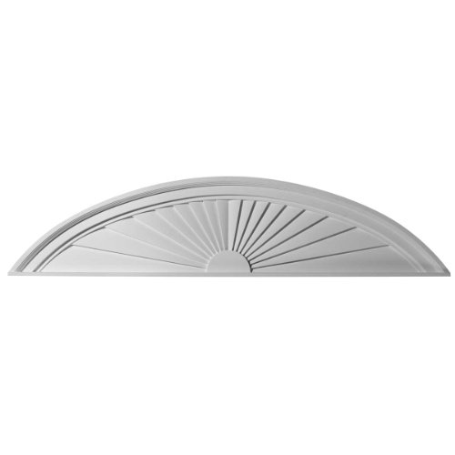 Half Round Sunburst - Ekena Millwork PED48X11X02SB 48-Inch W x 11-Inch H x 2-Inch P Half Round Sunburst Pediment