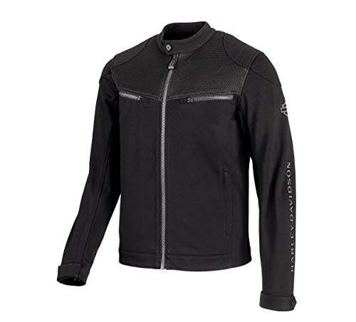 Harley-Davidson Official Men's 3D Mesh Accent Casual Slim Fit Jacket, Black (Large)