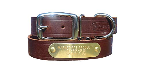 (Warner Brand Cumberland Leather Dog Collar + Free Engraved Brass ID tag (23