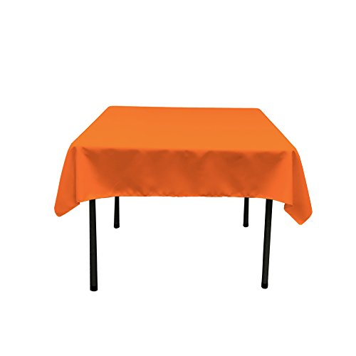 Orange Tablecloth - LA Linen Polyester Poplin Square Tablecloth, 52 by 52-Inch, Orange