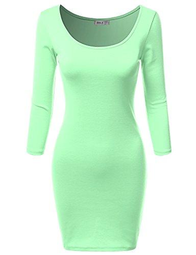 SJSP Round Neck Mini Dress Polka Dot LIGHTGREEN Studded Dress,M