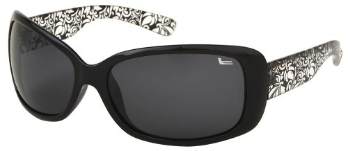 Coleman Women's CC1 6023 Polarized Sunglasses,Black and Clear Frame/Smoke Lens,one - Sunglasses Coleman