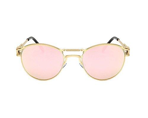 non soleil rétro et masculine personnalité féminine lunettes polarisées Rose punk de Or Lunettes de Hellomiko EqtIw