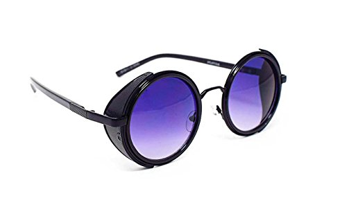 Black with Purple Lenses Steampunk Sunglasses 50s Round Sunglasses Rave Goth Vintage Copper Cyber Goggles Victorian Style - Sunglasses Victorian Retro