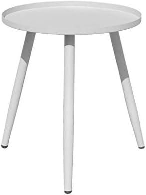 Hot Koop GWFVA ronde salontafel, woonkamertafel, metalen bijzettafel, afneembare ronde ijzeren opbergbak, kleine zijdelingse salontafel lichte woonkamermeubel 12.14  xMdQBs6