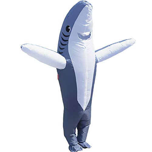 HUAYUARTS Inflatable Costume Blow up Costume Shark Game Fancy Dress Halloween Jumpsuit Cosplay Outfit Gift,Adult (Adult, Shark-Gray-Adult)