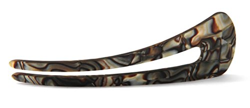 New French Bun Pin Topknot Holder Celluloid Tortoise Shell XLarge 4.5 Inches Onyx Bun Hair Clip Bun Holder U-Pins N32 ()
